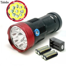 Tinhofire 9T6 flashlight 15000 lumens 9xT6 LED flashlamp 9 x CREE XM-L T6 LED Flashlight Torch with 4000mah battery and charger