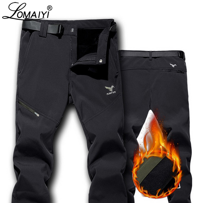 LOMAIYI Winter Pants For Men Warm Thick Casual Pants Men's Classic Trousers Windproof Man Pants With Fleece Lining AM352