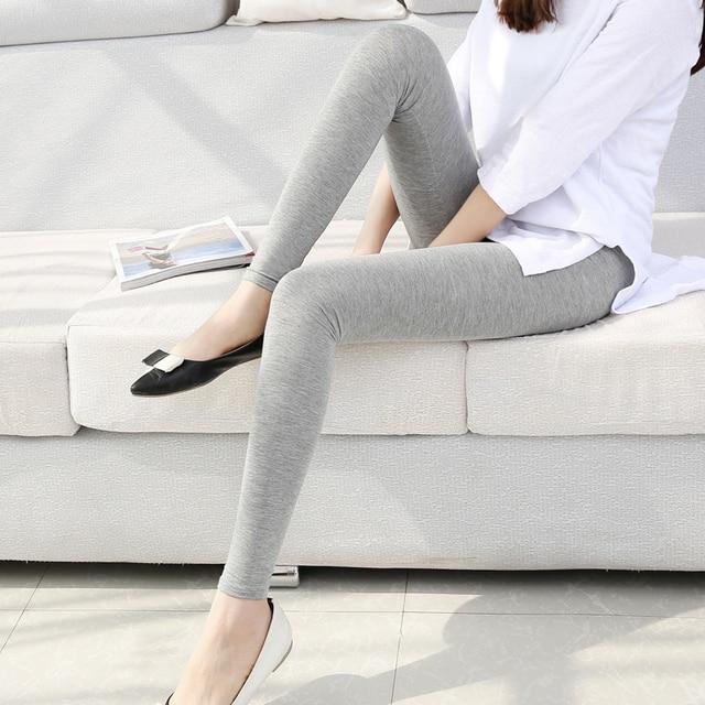 6653f6aadfd2a النساء بلون الرجل Jeggings s-7xl المرأة مشروط سروال داخلي قطني طويل سروال  ضيق رمادي