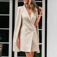 Turmeric Elegant doubled breast blazer dress Sexy v neck cloak women blazer Office shawl sleeveless ladies short dress female