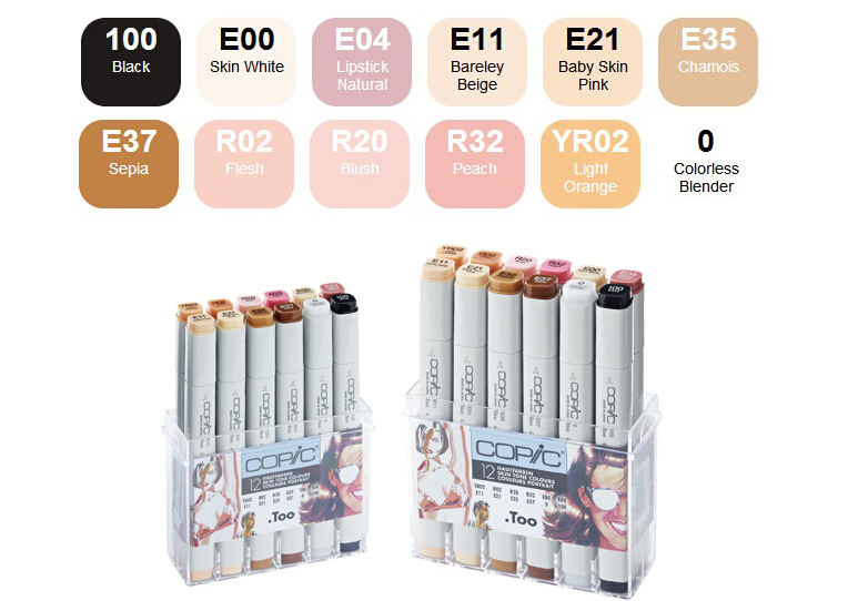 Copic Sketch Pens 12 Skin Tone Colour Set Graphic Art