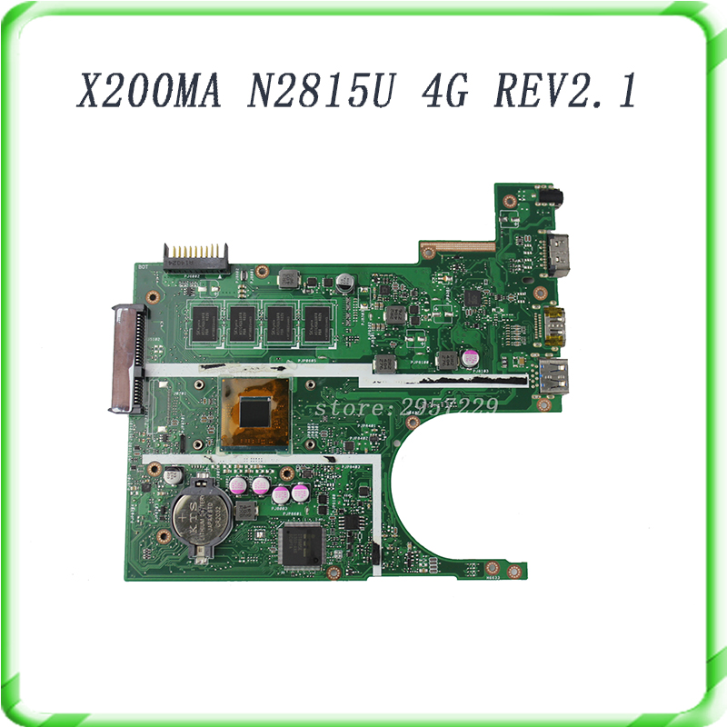 X200MA FOR ASUS laptop mainboard Rev2.1 Processor N2815CPU 4G 90NB0401-R00030 fully tested & free shipping