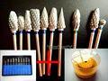 10 unids Dental Lab Titanium Nitrato De Carburo Burs Burs Pulidores + 1 unid 60 Agujero Bloque