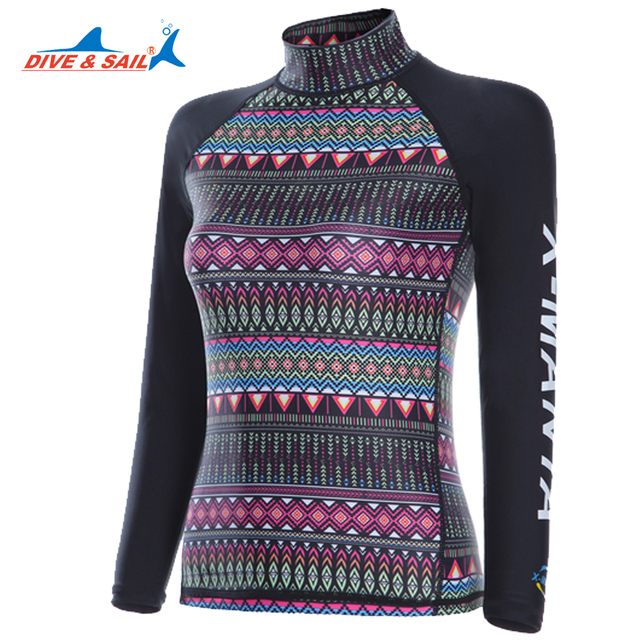 0f465577cf Dive Sail rashguard girls long sleeve Lycra UV Protection skin diving suit  for women surfing Ethnic swimsuit Clothing