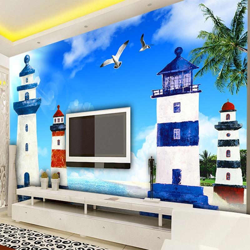 Mediterranen Stil 3D Cartoon Leuchtturm Meer Landschaft Foto Mural ...