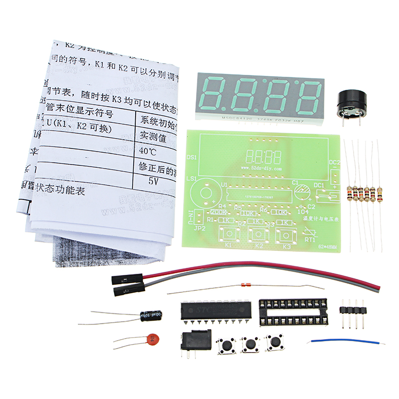 5V DIY Digital Voltmeter Thermometer Kit Electronic Production Module