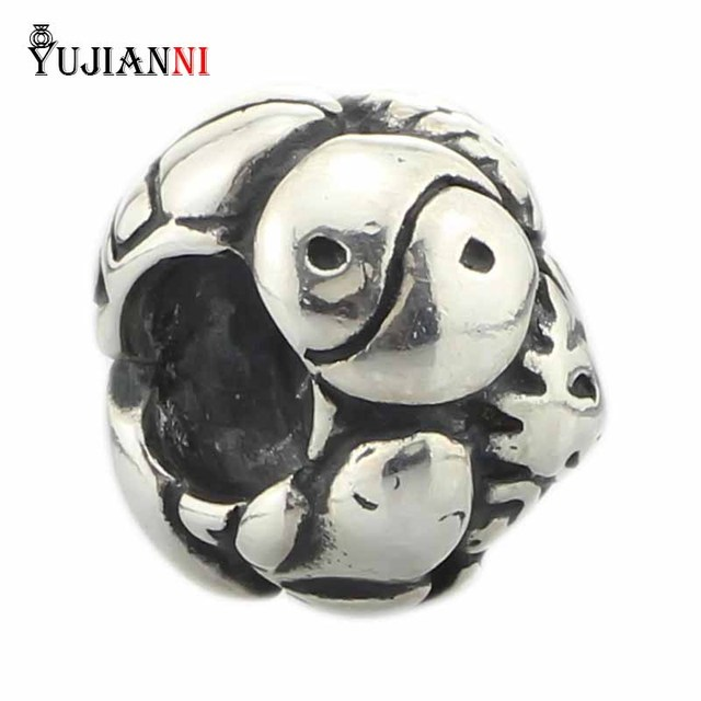 Solid 925 Sterling Silver Symbols Bead With Frog Scarab Turtle