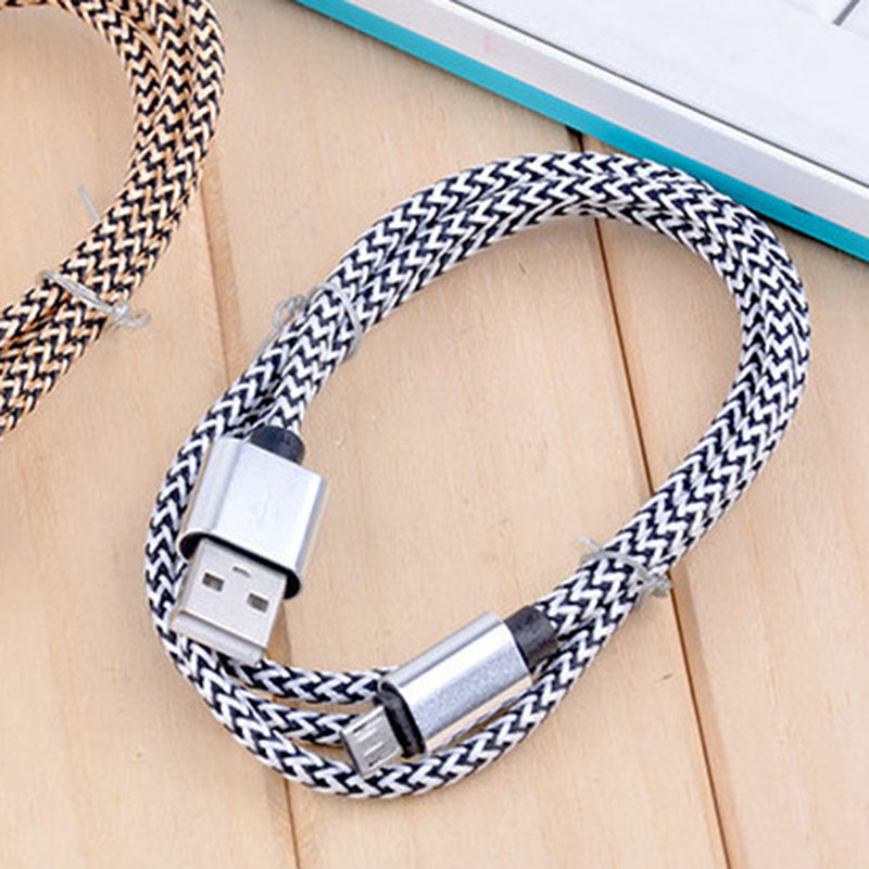 Gold Silver Color Nylon USB Cable for Andorid 2 Meters Micro USB Cable Fast Charging Data Cable for Android Tablet Microusb Wire