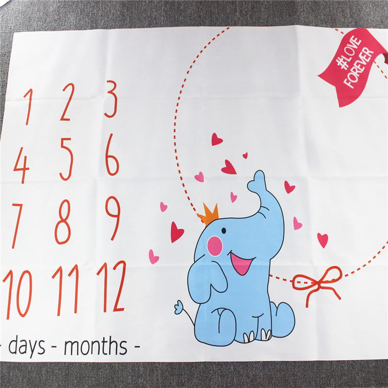 Infant Baby Milestone Blanket Photography Props Monthly Backdrop Cloth Elephant Calendar Bebe Boy Girl Accessories 39*47inch