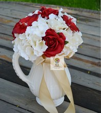 Handmade flower artificial flower overall floral set red and white rose guelder