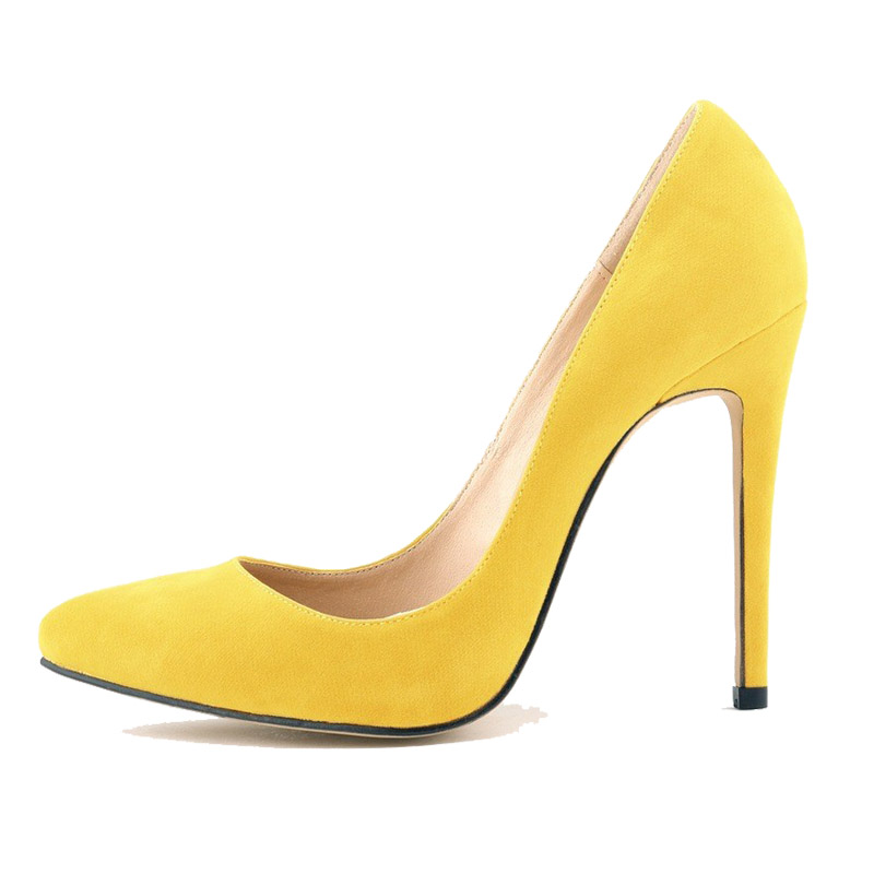 Womens Pumps Pointy Suede High Heels Leopad Print Yellow -5996