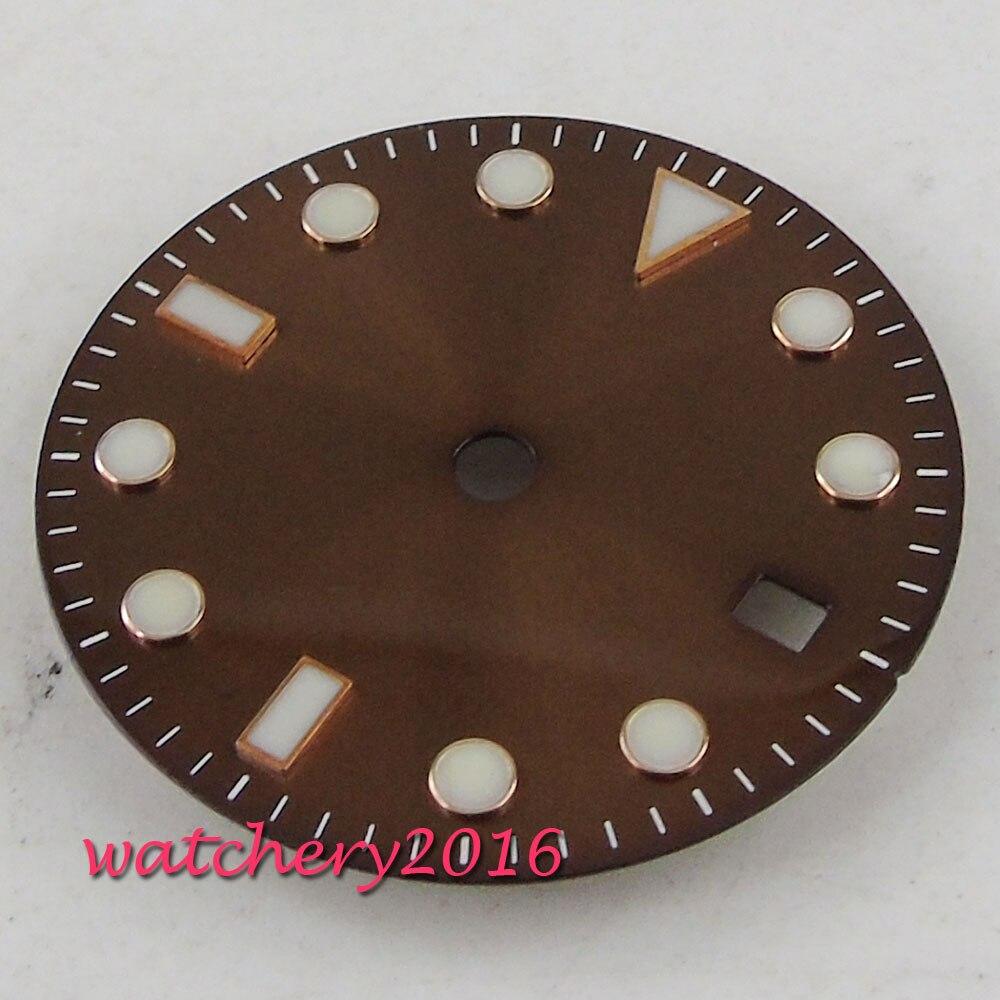 28.5mm Café cadran Stérile fit eta 2836 2813 miyota 8215 mouvement