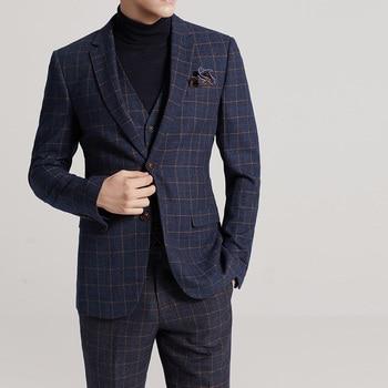 Fashion Plaid Business Suit Groom Tuxedos Wedding Suit Blazer Men 3Pcs (Jacket+Vest+Pants) Single Breasted Suit Men 2018