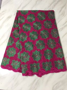 5 Yards/pc Beautiful fuchsia african cotton fabric with green flower swiss voile lace embroidery for clothes BC13-5