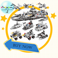 Army Police Helicopter Car Aircraft Carrier Building Blocks City Figures lepined Toys for Children