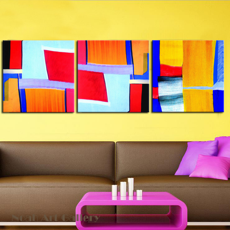 Colored Simple Abstract Geometric Painting Canvas Print