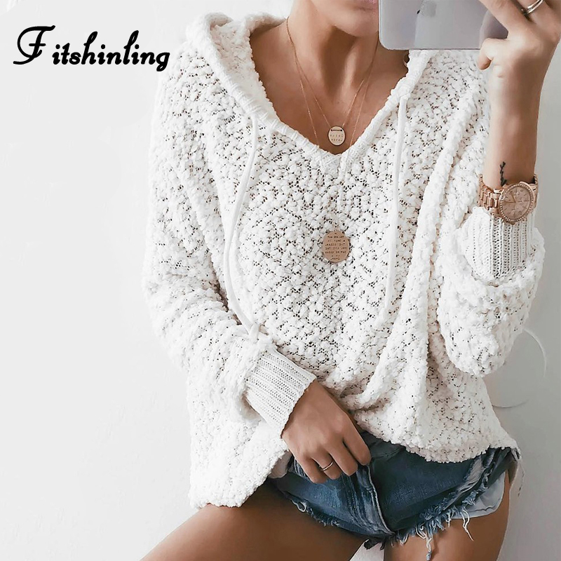Fitshinling Womens Sweaters 2019 Winter Fashion Korean Style White Pullovers Knitwear Jumpers Solid Hooded Knitted Sweater Lady