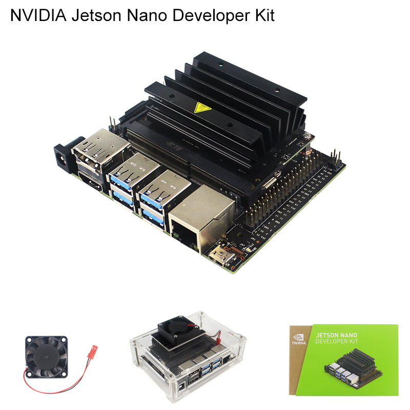 NVIDIA Jetson Nano Kit de développement pour l'intelligence artificielle AI Computing CPU 4 GB 64 bits LPDDR4 | boîtier acrylique | ventilateur de refroidissement