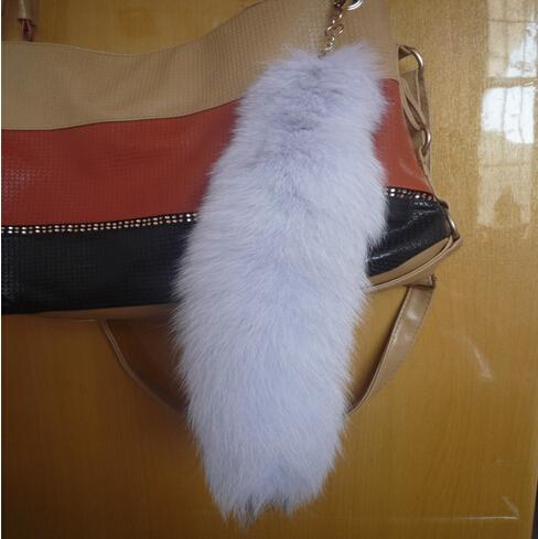 2015 joyería moda tail fox Fur llaveros cerca de 35 cm lindo encanto de piel bolso colgante del coche llavero llavero bolso de accesorios