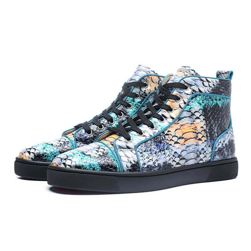 Genuine Leather Mixed Color Mens Sneakers Fashion Snake skin High Top Lace Up Casual Shoes Mesh Sport Shoes Zapatillas Hombre цены онлайн