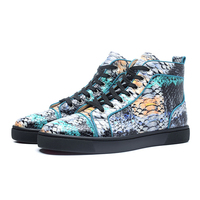 Genuine Leather Mixed Color Mens Sneakers Fashion Snake skin High Top Lace Up Casual Shoes Mesh Sport Shoes Zapatillas Hombre