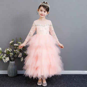 Luxury Children Girls Sweet Pink Lace Birthday Wedding Party Feathers Ball Gown Dress Baby Kids Model Show Catwalk Piano Dress