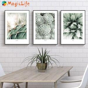 Image 1 - Настенная картина с изображением кактуса, холст для гостиной, искусственные зеленые растения, настенные картины без рамы