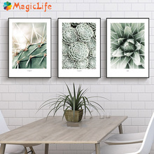 Cactus Wall Art Canvas Painting For Living Room Nordic Poster  Decoration Green Plants Pictures Unframed