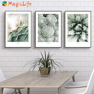 Image 1 - Cactus Wall Art Canvas Painting For Living Room Nordic Poster  Decoration Green Plants Wall Pictures Unframed