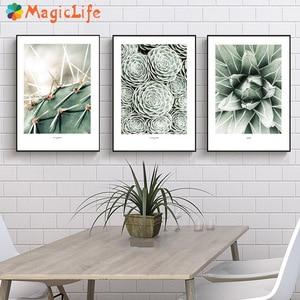 Image 1 - Kaktus obraz ścienny na płótnie do salonu nordycki plakat dekoracja zielona ściana roślin zdjęcia Unframed
