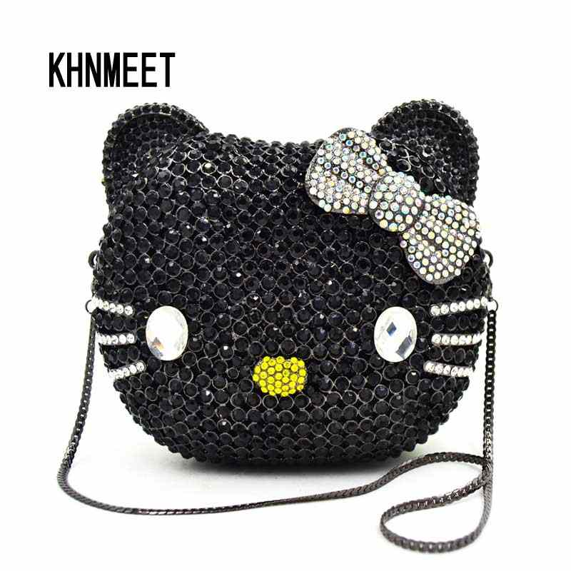 39f7ca37d7 Detail Feedback Questions about Luxury Black cat s face Crystal Clutch Bag  Hellow Ketty Purse Diamond Party Wedding Bag Women Evening banquet  Wristlets ...