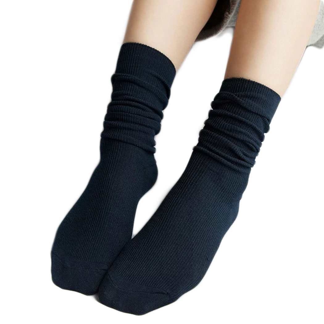 Women Girl Student Retro Cotton Long Socks Solid Color ...