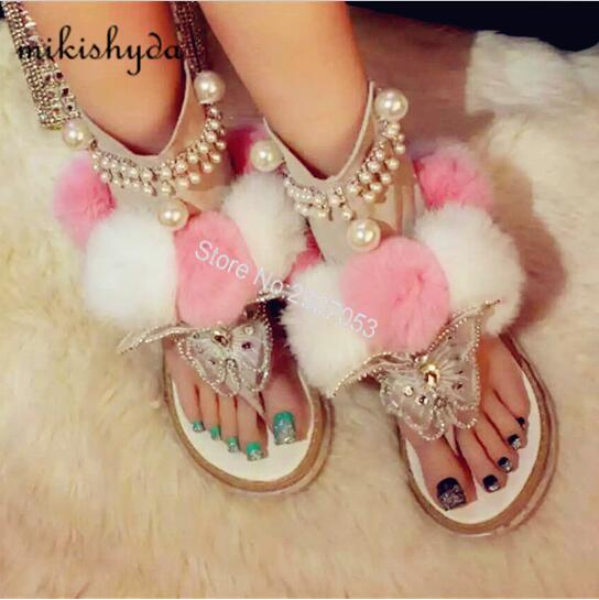 Beauty Mixed Color Fur Gladiator Sandals Women Flats Wedges Dress Shoes 2016 Summer New Ankle Boots Luxury Crystal Sandals Woman