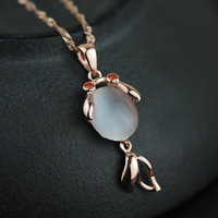 925 Sterling Silver Rose Gold Synthetic Opal Goldfish Pendant Fashion Hand Made Silver Fish Jewelry