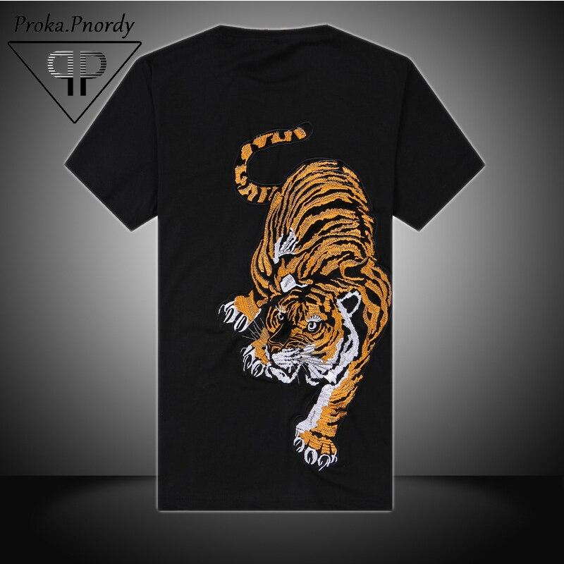 Proka Pnordy Brand Embroide Tiger Printed T-skjorte Yokosuka - Herreklær