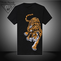 Proka Pnordy Brand Embroide Tiger Printed T Shirt High Quality Yokosuka Embroidery 100% Cotton Casual Tees Shirt Men 3XL 4XL TOP