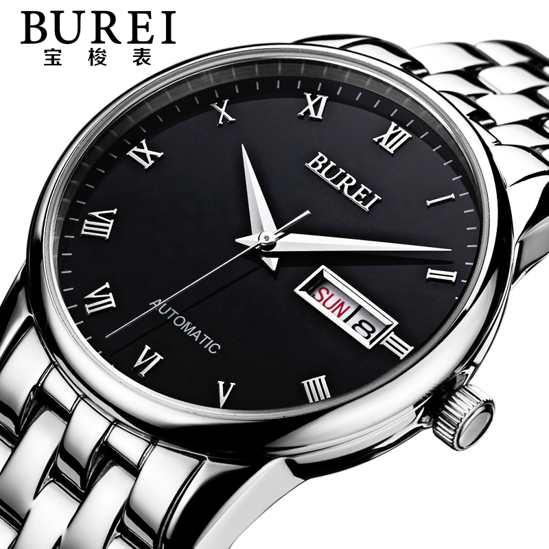 BUREI Brand Luxury Sapphire Lens Men Automatic Mechanical Watch Waterproof Calendar Wristwatches With Premiums Package 1002 burei brand crystal sapphire men sports automatic mechanical watch waterproof male wristwatches with premiums package 15009