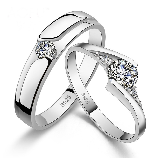 925 Silve Couple Rings Arrival Lover Ring Set Engagement Wedding Adjustable Love Heart