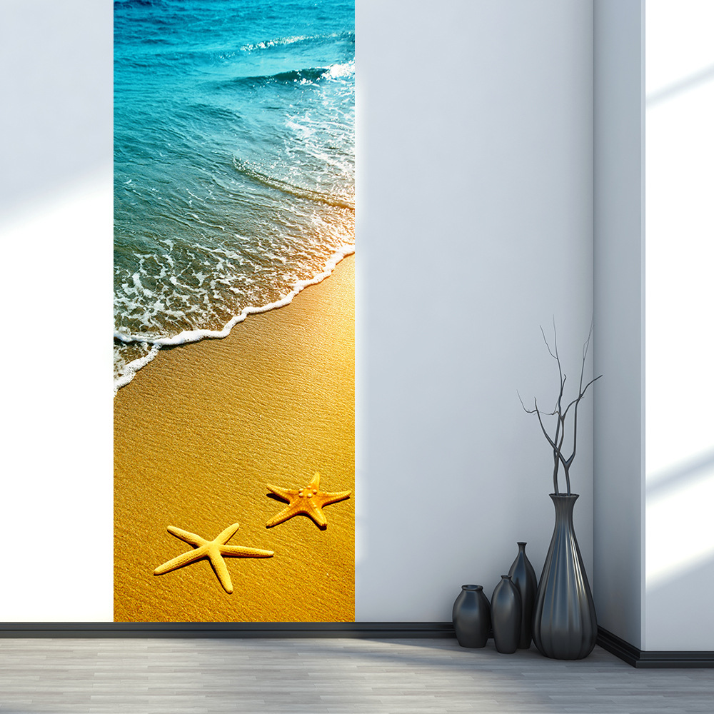 PVC 3d door posted starfish sand beach pattern wall stickers door ...