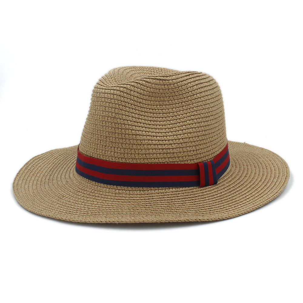 Fashion Women Men Summer Toquilla Straw Fedora Hat For Elegant Lady Wide Brim Panama Cap Gentleman Dad Sunbonnet Beach Sun Hats