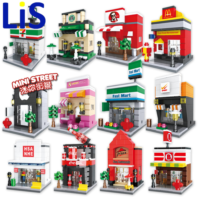 Lis HSANHE 6401-6408 /6412-6415 Retail Store Building Block Street Scene Architecture Toys Supermarket Apple Kentucky McDonald's banbao 6408