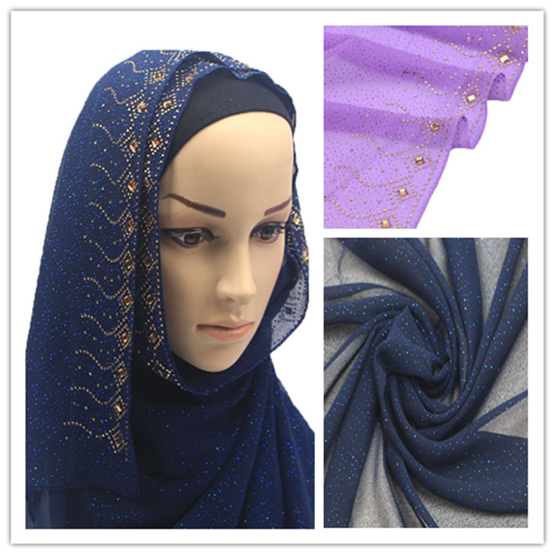 diamond edge solid color chiffon scarf Muslim hijab women scarf pashmina bandana silk wrap shawl