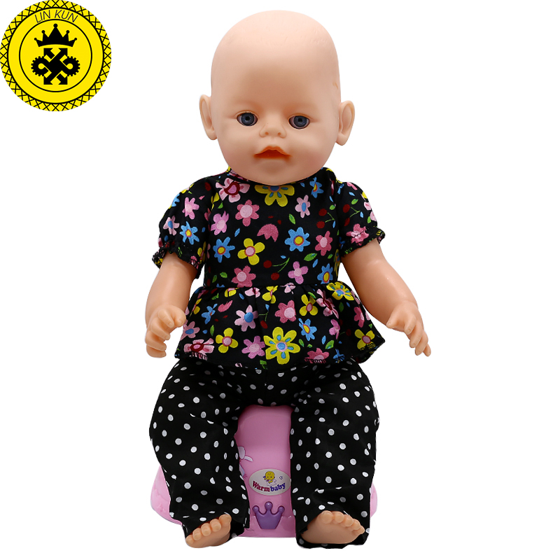 Baby Born Doll Clothes Floral Shirt + Trousers Suit Fit 43cm Zapf Baby Born 43cm Doll Accessories Best Birthday Gifts 044 30 new styles festival gifts top trousers lifestyle suit casual clothes trousers for barbie doll 1 6 bbi00636