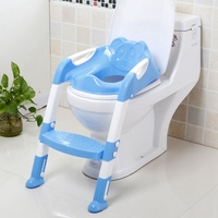 Baby Toilet Seat Kids Folding Potty Trainer Seat Adjustable Ladder Chair Step Children Potty Seat Toilet 2 Colors