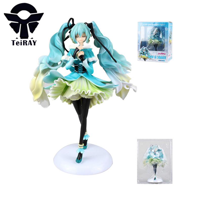 ФОТО Hatsune Miku Snow In Summer Miku Figurines 28CM Japan Pvc Vocaloid Action Figures Anime 1/6 Scale Kids Hot Toys for Children Men