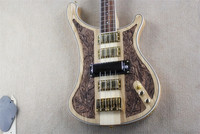 New Style deluxe edition maple neck through ash body nc carving Rickenback 4003 4 Strings Electric Bass Guitar rick bass