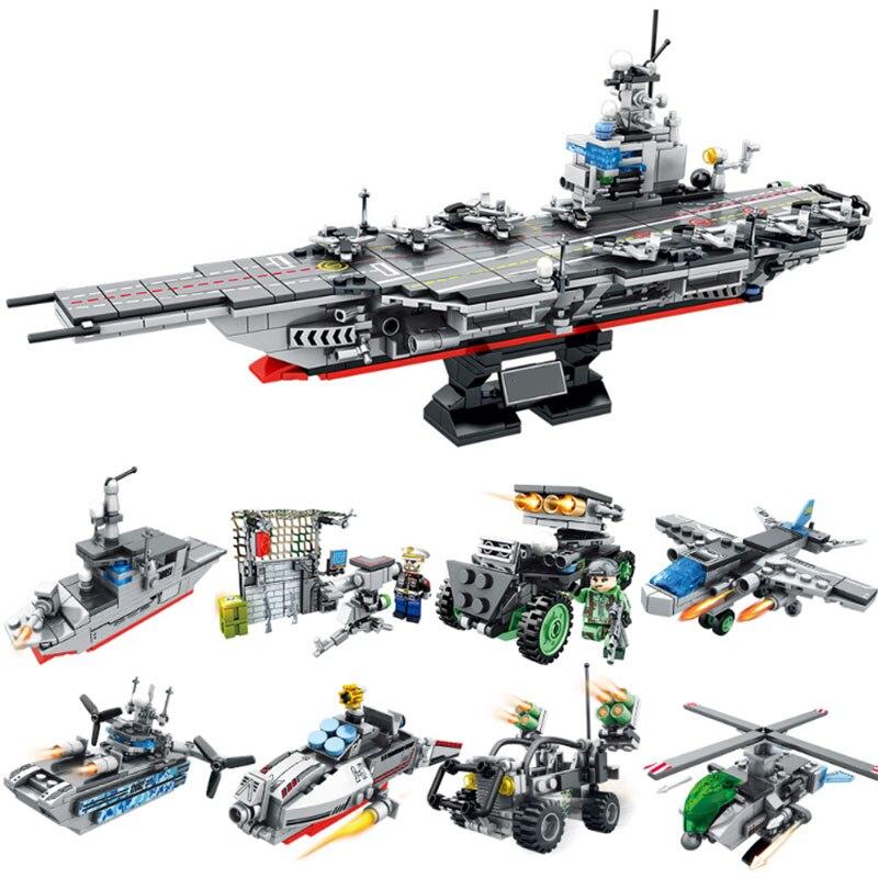 863 Piezas Militar Modelo De Nave Soldados Bloques De Construcción 8in1 Ladrillos Compatible Legoed Helicóptero De Guerra Arma Ladrillos Juguetes