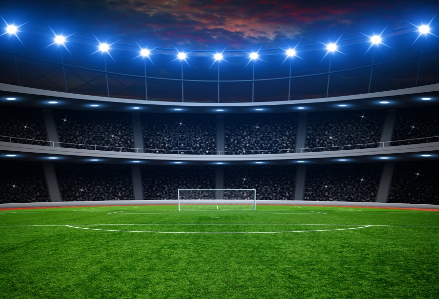 Laeacco Soccer Backgrounds Goal Stadium Spotlight Green Grass Child Birthday Portrait Photography Backdrops Photocall Studio titanium ring