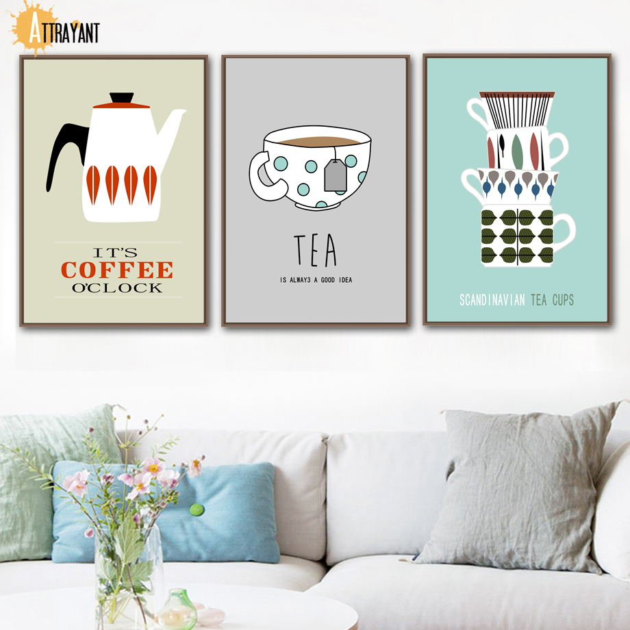 Coffee Tea Cups Wall Art Canvas Painting Nordic Posters And Prints Pictures For Living Room Kitchen Dining Home Decor
