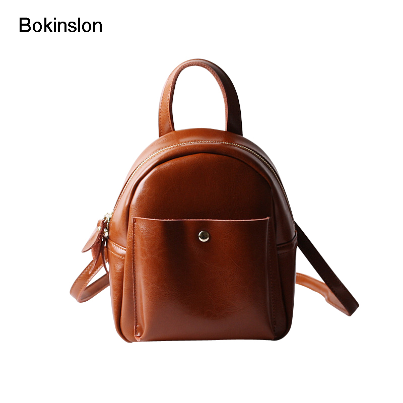 Bokinslon Mini Backpacks For Girls Split Leather Casual Ladies Backpakcs School Bags Classic Fashion Woman Bags College Wind 247 classic leather